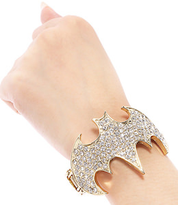Rhinestone Batman Bracelet