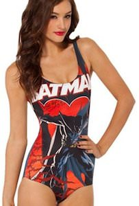 Red And Black Batman One Piece Bathing Suit