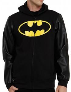 Batman Faux Leather Sleeve Hoodie