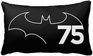 Black Batman Logo 75th Anniversary Pillow