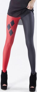 Red And Black Harley Quin Style Leggings