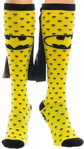Yellow Caped Batman Logo Socks