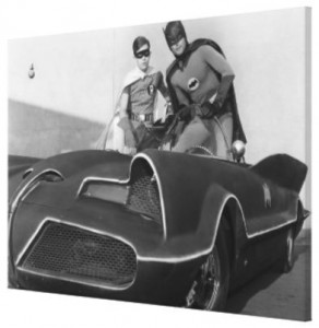 Classic Batman And Robin With Batmobile Canvas Art Print