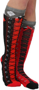 Harley Quinn Black And Red Faux Lace Up Socks