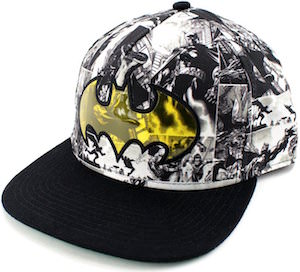 Batman Black And White Comic Snapback Hat With Yellow Logo