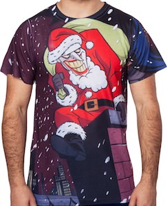 The Joker Playing Santa Claus Christmas T-Shirt