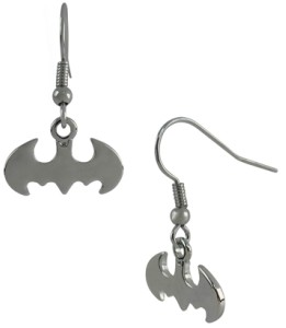 Batman Silver Symbol Dangle Earrings