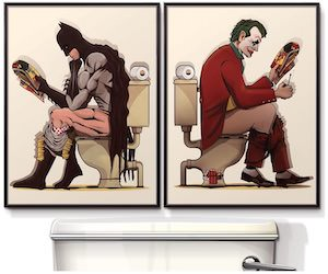 Batman And The Joker On The Toilet Posters