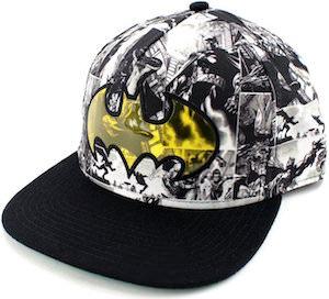 Batman Black And White Comic Snapback Hat With Yellow Logo