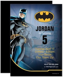 Personalized Batman Birthday Invitations